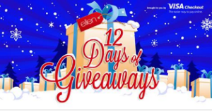 Ellen – Win A $250 Visa Gift Card from Visa Checkout & Williams-Sonoma,  A $500 The Container Store Gift Card and more prizes by December 4, 2015 – DAILY!