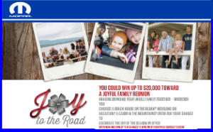 FCA US – Win up to $20,000 and a check in the amount of $5,000 toward a joyful family reunion and more weekly prizes by December 31, 2015