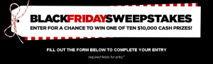 JCPenny –  Win 1 of 10 prizes of a $10,000 check from The JCPenney Black Friday Sweepstakes by November 30, 2015