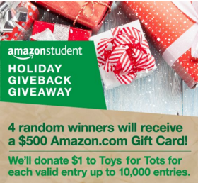 Amazon Student  – Win 1 of 4 prizes of $500 Amazon.com Gift Card by December 7, 2015