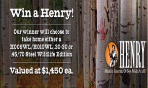 Huntinglife.com – Win one of two Henry Rifles valued at $1,450 by December 18, 2015
