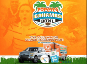 Popeyes – Win an all-new 2016 Ford truck and a tailgate party trailer valued  up to $45,000 and more prizes by January 15, 2016 – INSTANTLY!