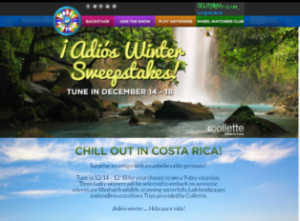 Wheel of Fortune – Win 1 of 3 prizes of a $6,478 trip for 2 to Costa Rica December 19, 2015 – DAILY!