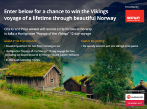 A&E – Vikings on History Explore Norway – Win a grand prize of a trip for 2 to beautiful Norway valued at $8,200ARV OR 1 of 6 minor prizes of a Vikings prize pack bundle