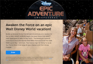 Disney Channel – ABC Cable Networks Group – Win a 6-day trip for 4 to Orlando, Florida to visit Walt Disney World Resort near City valued at $5,854 ARV