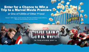 Diamond Foods – Win the War with Pop Secret – Win a grand prize of a Trip for 2 to the Premiere of a Marvel movie in Los Angeles OR 1 of 1,950 minor prizes