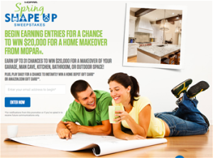 FCA US – Mopar Spring Shape Up – Win a grand prize of a $20,000 check OR 1 of 1,500 Game prizes