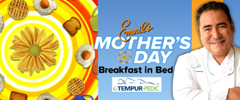 Good Morning America & ABC – Mothers Day Breakfast in Bed – Win a surprise from Emeril Lagasse & a brand new mattress and bedframe valued at $3,888 ARV