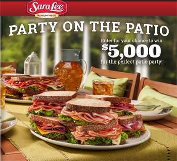 Hillshire Brands – Sara Lee Premium Deli Meats Perfect Patio Party – Win a grand prize of $5,000 Visa Gift Cards & Free Sara Lee Deli Meat for a year OR 1 of 100 minor prizes