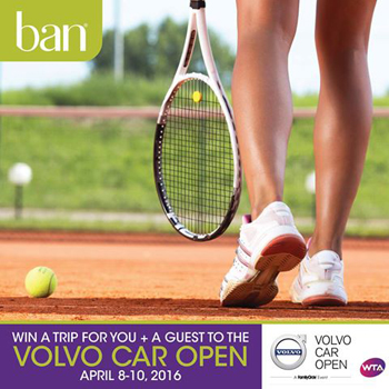 KAO USA – Ban Deodorant Volvo Car Open – Win a grand prize of either a trip for 2 to the Volvo Car Open in Charleston, SC OR a $2,000 check
