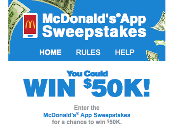McDonalds – 2016 McDonalds App – Win 1 of 4 cash prizes of $50,000 ARV each