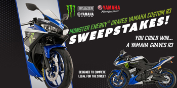 Monster Energy – Graves Yamaha Custom R3 – Win a new 2016 Yamaha R3 Motorcycle valued at $10,000 ARV