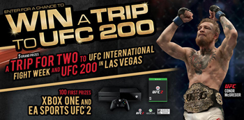 Monster Energy – Win 1 of 5 trips for 2 to UFC200 in Las Vegas valued at $9,500 ARV each OR 1 of 100 minor prizes of a Xbox One & EA Sports UFC 2