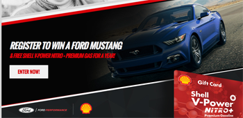 Penske Racing – Team Penske Mustang – Win a grand prize of a 2016 Ford Mustang GT valued at $35,000 ARV plus one years supply of Shell V-Power NiTRO Premium Gasoline