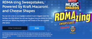 Radio Disney – RDMA-Zing – Win a 3-day trip for 4 o the Los Angeles to attend the Radio Disney Music Awards valued at $4,000 ARV
