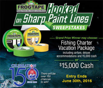 ShurTech Brands – Frogtape Hooked On Sharp Paint Lines – Win a grand prize of either a $10,000 USD vacation package or $15,000 USD cash OR 1 of 150 Visa Gift cards valued at $50 USD each