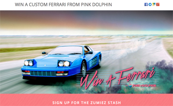 Zumiez – Win a 1987 Ferrari Testarossa by Pink Dolphin & a trip for 2 valued up to $67,500 USD OR 1 of 2 minor prizes
