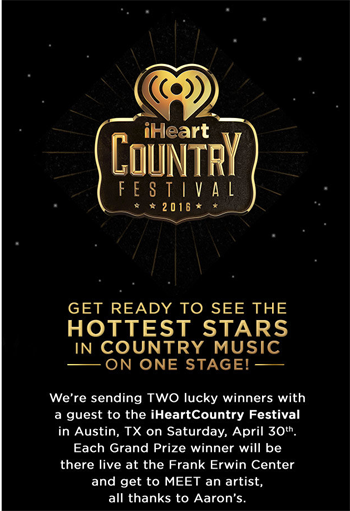 iHeart – AArons iHeartcountry Festival Flyaway – Win 1 of 2 grand prizes of a trip for 2 to the 2016 iHeartCountry Festival OR 1 of 2 minor prizes
