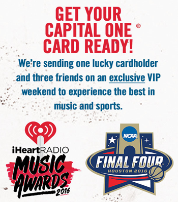 iHeartRadio – Win a trip for 4 to Houston, TX for the NCAA Mens Basketball Final Four National & to Los Angeles for the iHeartRadio Music Awards valued at up to $37,000 ARV