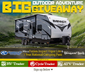 Dominion Web Solutions – Big Outdoor Adventure – Win a 2016 Keystone Fuzion Impact VaporLite 26V Recreational Vehicle & a Trails Camping Pass valued at $42,995 ARV