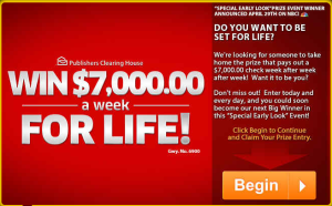 PCH – Win $7,000.00 A-Week-For-Life, minimum of $1,000,000 with Publishers Clearing House Special Early Look SuperPrize Event