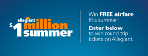 Allegiant – Fly Me Away – Win a grand prize of Free Allegiant flights for a year valued $4,800 ARV OR Weekly Ticket prizes