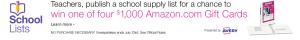 Amazon.com – School Lists – Win 1 of 4 $1,000 Amazon Gift Cards