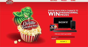 Conagra Foods – Orville Redenbachers + Ghostbusters – Win a grand prize valued at $1,918 OR 1 of 500 prize packs
