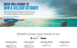 Paypal – Great Adventure – Win a grand prize valued at $10,000 OR 1 of 75 minor prizes
