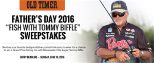 Taylor Brands Old Timer – Fathers Day 2016 Fish With Tommy Biffle – Win a fishing trip package for 4 people in Oklahoma valued at $5,000 OR 1 of 20 minor prizes