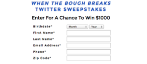 Columbia Tristar – When The Bough Breaks – Win 1 of 5 $1,000 checks