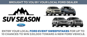 FORD Motor – Ford Event – Win a $30,000 voucher to purchase 1 of 5 Ford vehicles OR a bonus prize of a $500 check