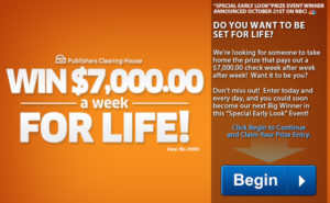 PCH – Publishers Clearing House – Win $7,000 a week for life