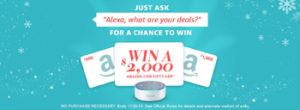 Amazon Digital Services – Alexa Voice Shopping – Win a $2,000 Amazon Gift Card OR 5 other minor prizes