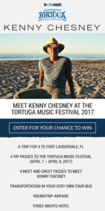CBS Local – Kenny Chesney Tortuga – Win a trip for 4 to the Tortuga Music Festival
