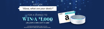Amazon Digital Services – Alexa Voice Shopping Giveaway II – Win 1 of 5 Amazon Gift Cards valued at $1,000 each
