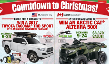 Bass Pro Shops – Countdown to Christmas 2016 – Win a prize package of a 2017 Toyota Tacoma TRD Sport & more