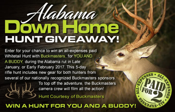 Buckmasters – Alabama Down Home Hunt – Win an all-expenses paid Whitetail Hunt with Buckmasters for 2