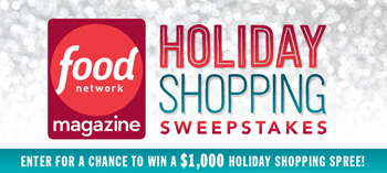 Food Network – Holiday Shopping – Win 1 of 5 Gift Check valued at $1,000 each