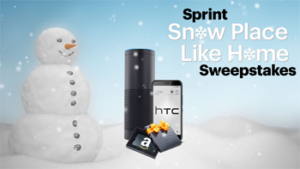 Sprint – Snow Place Like Home – Win a grand prize of an Amazon Gift Card valued at $5,000 plus more OR 1 of 12 HTC Bolt smartphones