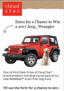 Cloud Star – Win a 2017 Jeep Wrangler with WellMade Grain-Free Dog Food
