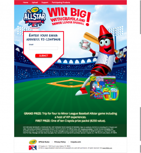 Crayola Allstar – Win a trip for four to Minor League Baseball Allstar game or 1 of 10 Crayola prize packs ($250 each)