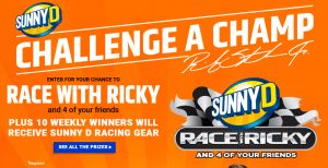 Sunny Delight Beverages – Win a trip to Charlotte for a Race with Ricky