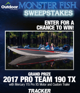 Bass Pro Shops – Monster Fish – Win a 2017 Pro Team 190 TX with Mercury 115 Pro XS motor and custom trailer valued at $22,905