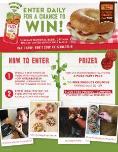 Bimbo Bakeries – Thomas English Muffins 2017 National Bagel Day – Win Daily prizes
