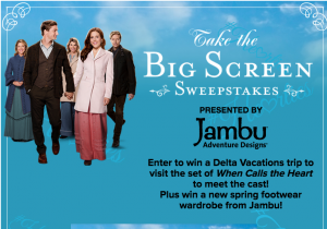 """Hallmark Channel – Take the Big Screen – Win a trip for 2 to visit the set of """"When Calls The Heart"""" & a Jambu & Co. spring footwear wardrobe valued at $6,050"""