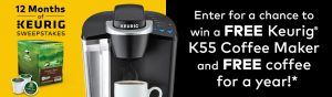 Keurig Green Mountain – 12 Months of Keurig – Win 1 of 72 Keurig K55 Coffee Makers in black & K-Cup pod varieties