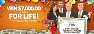 PCH – Publishers Clearing House – Win $7,000 A Week For Life Sweepstakes