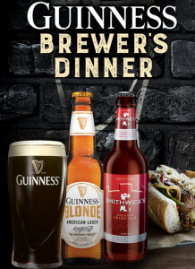 Diageo Beer – Guinness Brewers Dinner 2017 – Win 1 of 12 Brewer's Dinners hosted by Diageo Beer Company for 10 people valued at $2,000 each