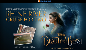 Fandango Media – Beauty and the Beast – Win an 8-day Adventures  by Disney Rhine River Cruise vacation package for 2 OR 1 of 3 minor prizes